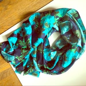 J Crew Silk Floral Scarf Wrap Large in Blues